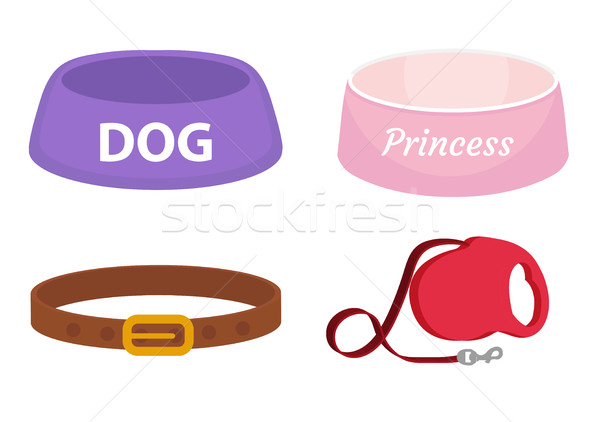 Animal accessories supplies set of icons, flat, cartoon style. Collection of items for dog care with Stock photo © lucia_fox