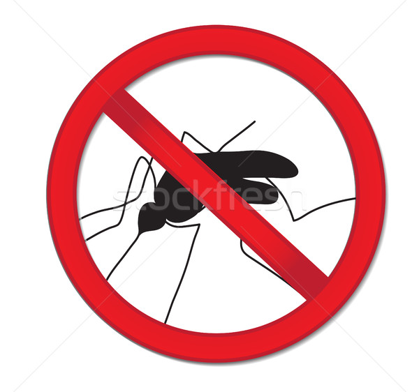 Stock photo: Red sign ban mosquito. Stop mosquito insect. Vector illustration