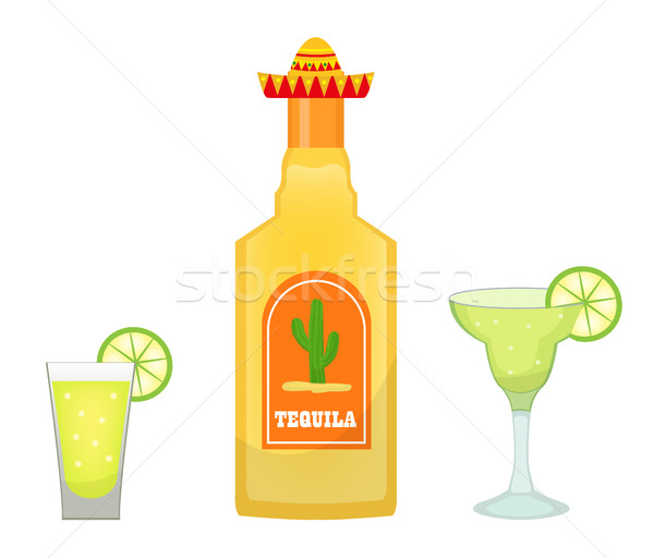 Tequila bottle with glasses and pieces of lime icon flat, cartoon style isolated on white background Stock photo © lucia_fox