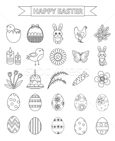 Stock photo: Happy Easter icon set, line style, doodle, hand drawing. Vector illustration.