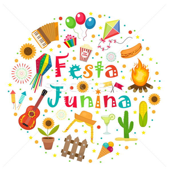 Festa Junina set of icons in a round shape. Brazilian Latin American festival collection of design e Stock photo © lucia_fox