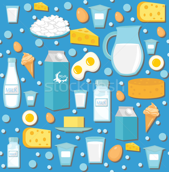 Dairy product seamless pattern. Flat style. Milk products background.  and Cheese texture. Farm Food Stock photo © lucia_fox