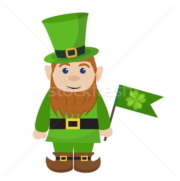 Leprechaun, icon flat style. St. Patricks Day symbol. Isolated on white background. Vector illustrat Stock photo © lucia_fox