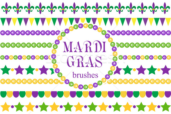 Mardi Gras borders set . Cute beads, fleur de lis ornaments, garland. Isolated on white background.  Stock photo © lucia_fox