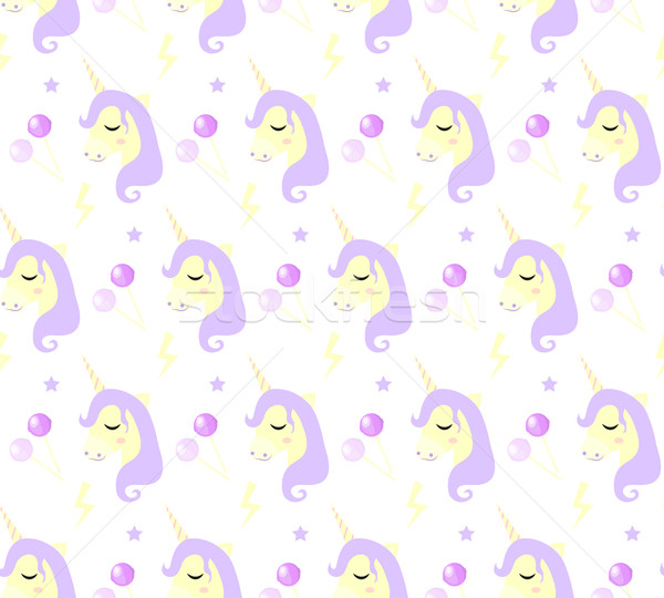 Stock photo: Magic Unicorn seamless pattern. Modern fairytale endless textures, magical repeating backgrounds. Cu