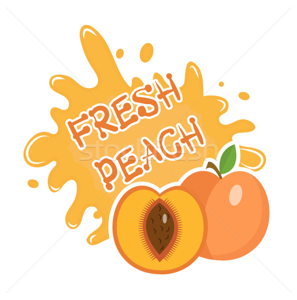 Fresh Peach splash icon, logo, sticker. Fruit splashing isolated on white background. Vector illustr Stock photo © lucia_fox