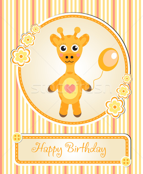 greeting template cute children s birthday party, cartoon giraffe Stock photo © lucia_fox