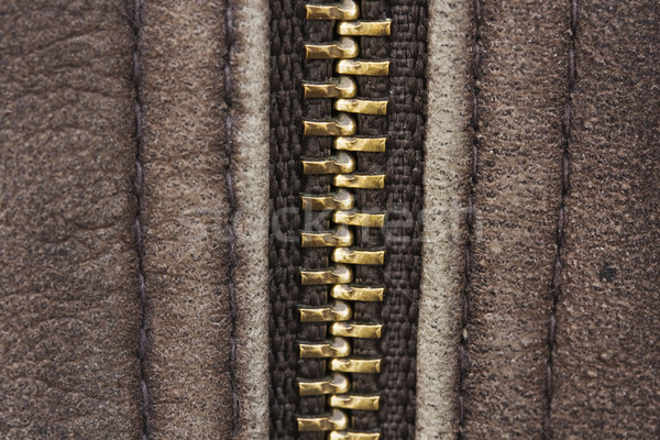 Background of brown leather with zip. Stock photo © lucielang