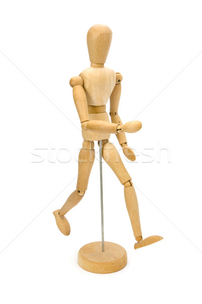 Wooden artists Mannequin running over white. Stock photo © lucielang
