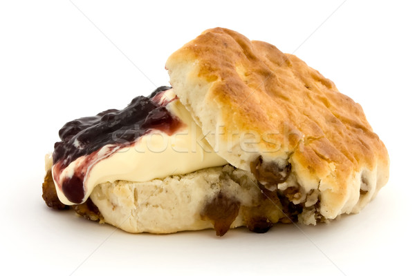 Fresh fruit scone with clotted cream and jam Stock photo © lucielang