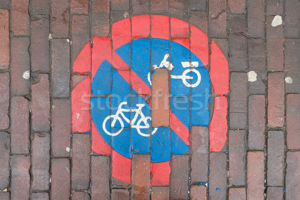 Nie rowerowe podpisania malowany bruk sportu Zdjęcia stock © lucielang