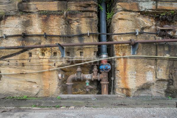 Oude roestige industriële pijpen muur water Stockfoto © lucielang