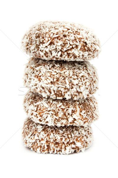 Chocolate and coconut covered marshmallow tower Stock photo © lucielang