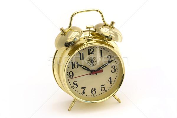 Altın çalar saat beyaz yüz zaman siyah Stok fotoğraf © lucielang