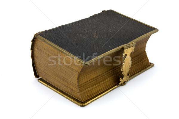 Stock photo: Antique leather book over white