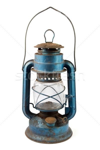 старые синий ржавые фонарь белый стекла Сток-фото © lucielang