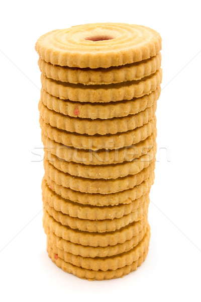 Tower of  jam filled biscuits over white Stock photo © lucielang