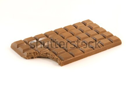Chocolate bar with a missing bite over white Stock photo © lucielang