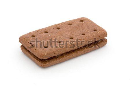 шоколадом кремом печенье белый изолированный продовольствие Сток-фото © lucielang