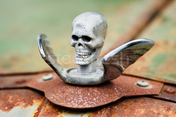 Skull with wings Hood Ornament on a rusty car Stock photo © lucielang