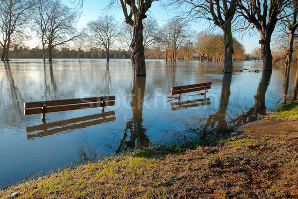 Submerged benches on  a flooded riverbank Stock photo © lucielang