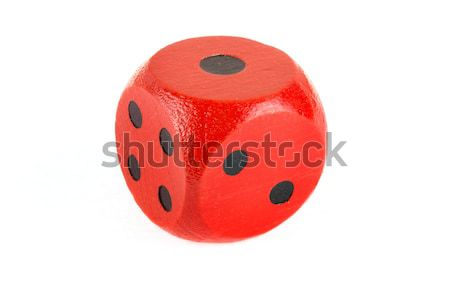 Red wooden die on white Stock photo © lucielang