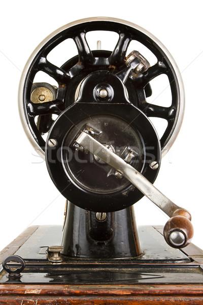 Stockfoto: Behandelen · oude · naaimachine · witte · antieke · zwarte