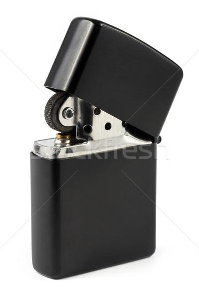 Preto cigarro isqueiro branco chama charuto Foto stock © lucielang