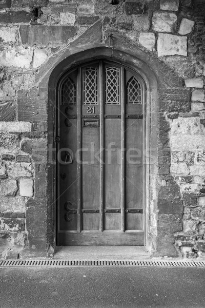 Medievale porta bianco nero immagine texture muro Foto d'archivio © lucielang