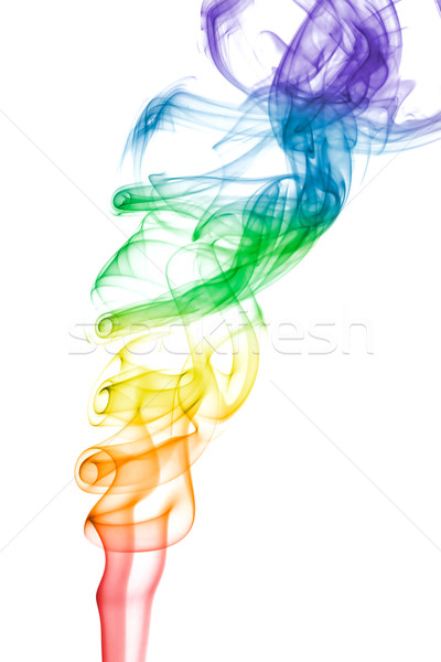 Gökkuşağı renkli duman model beyaz mavi Stok fotoğraf © lucielang
