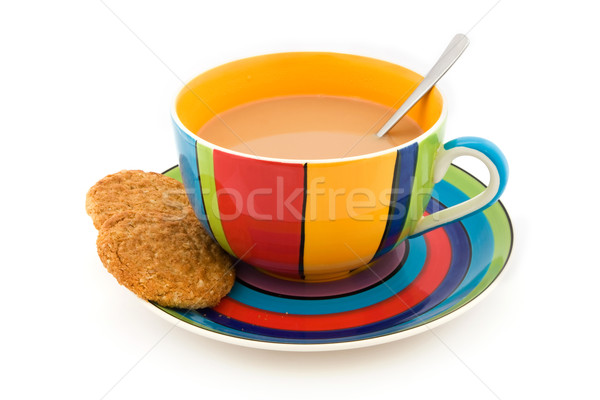 Stripy cup and saucer with two biscuits on white Stock photo © lucielang