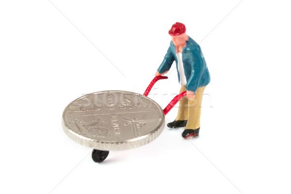 Descobrir em movimento moeda branco Foto stock © lucielang