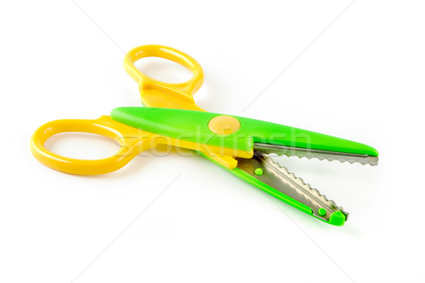 Yellow and green plastic scissors Stock photo © lucielang