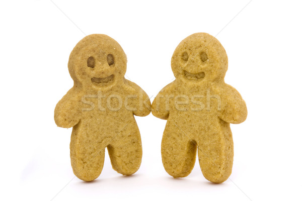 Two gingerbread men over white Stock photo © lucielang
