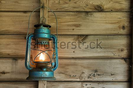 Stock photo: Rusty lantern hanging in a shed