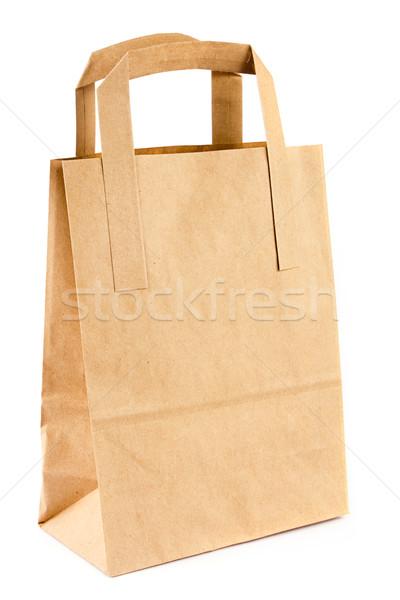 Boş ambalaj kâğıdı çanta beyaz alışveriş uzay Stok fotoğraf © lucielang