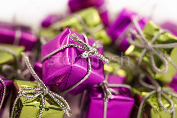 Lila zöld csomag ajándék ajándék szalag Stock fotó © lucielang