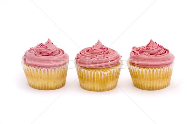 Three pink cupcakes Stock photo © lucielang