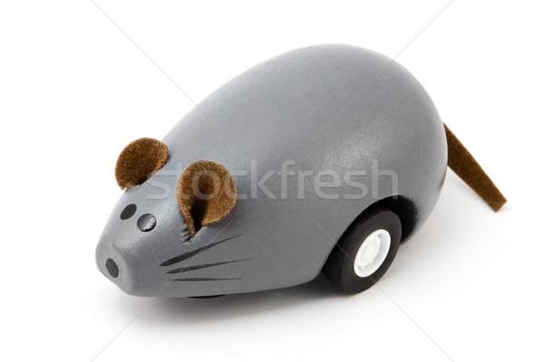 Grijs houten speelgoed muis witte Stockfoto © lucielang