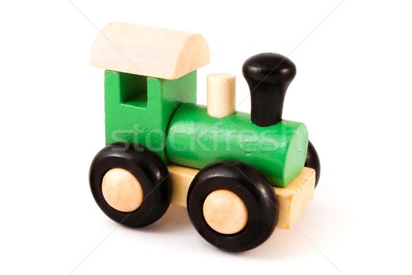 Houten speelgoed trein witte Blauw leuk Stockfoto © lucielang