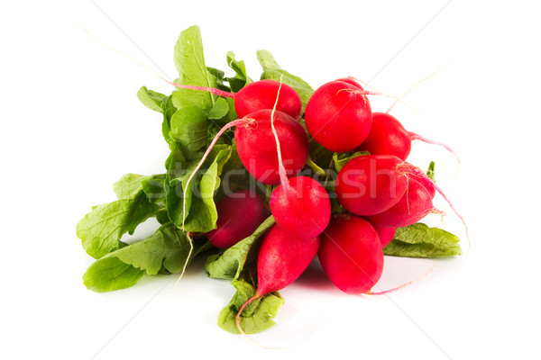 Bunch of oragnic radishes on white Stock photo © lucielang