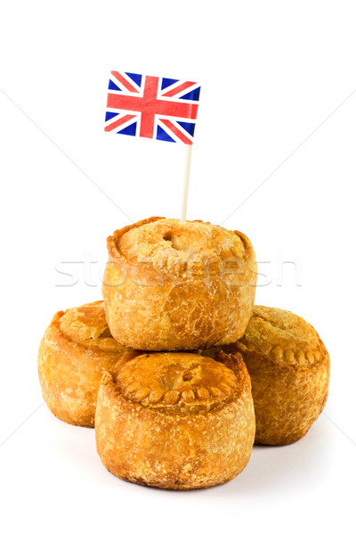 Varkensvlees taarten union jack vlag witte Stockfoto © lucielang