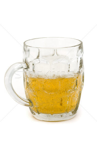 Half full glass beer tankard over white Stock photo © lucielang