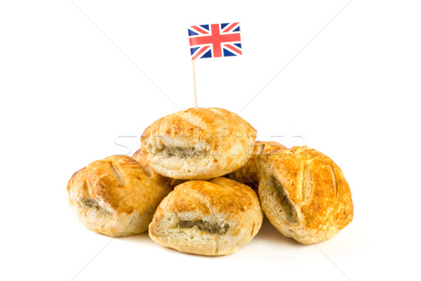 Pile of sausage rolls with union jack flag Stock photo © lucielang