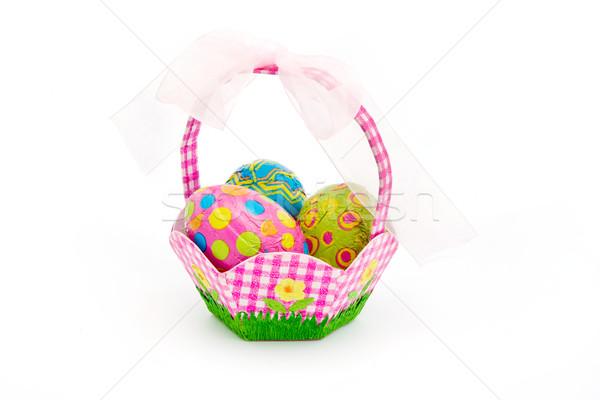 Kosár húsvéti tojások fehér húsvét virágok Stock fotó © lucielang
