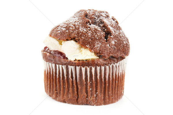 Cream filled chocolate muffin on white Stock photo © lucielang