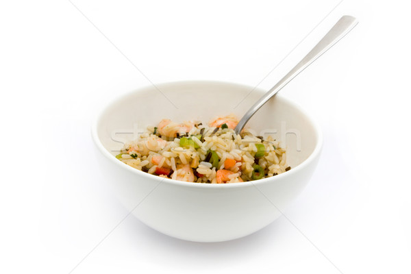 Thai prawn and rice dish with a fork over white Stock photo © lucielang