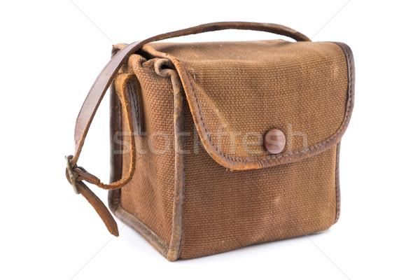 Bağbozumu kahverengi tuval kamera çanta küçük Stok fotoğraf © lucielang