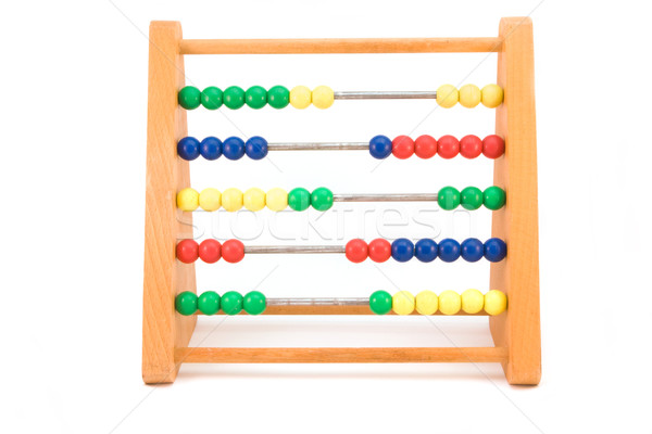 wooden abacus over white Stock photo © lucielang