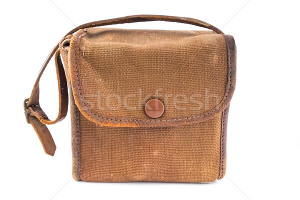 Küçük bağbozumu kahverengi tuval kamera çanta Stok fotoğraf © lucielang